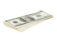 Стог старого стиля 100 долларов изолированных бумажных денег Стоковые Фотографии RF