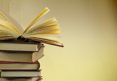 Стог старых книг, copyspace для вашего текста Стоковая Фотография