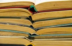 Стог старых открытых книг Записывает предпосылку Стоковые Фотографии RF