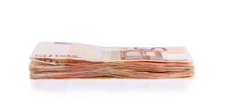 Стог 50 счетов евро Стоковое Фото