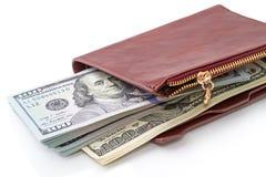 Стог счетов 100-доллара в вашем бумажнике Стоковая Фотография RF