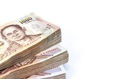 Стог тайских денег на белой пользе предпосылки для предпосылки денег Стоковая Фотография