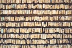 Стог текстуры деревянных журналов для предпосылки Стоковая Фотография