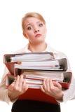 Стог удерживания бизнес-леди документов папок Стоковое фото RF