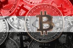 Стог флага Bitcoin Йемена Концепция cryptocurrencies Bitcoin B Стоковое Изображение RF
