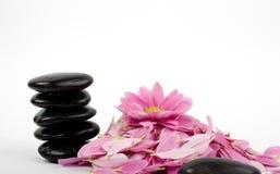 Стог черных камней и цветка Стоковое Изображение RF