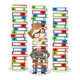 Стог шаржа связанный бизнесменом обработки документов связывателей иллюстрация штока