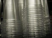 Стог ясной пластичной чашки Стоковая Фотография