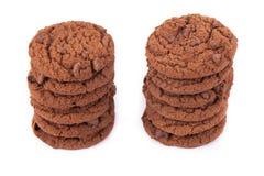 стог 2 печенья шоколада обломока Стоковые Фотографии RF