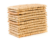 Стог crispbreads зерна на белой предпосылке Стоковые Фотографии RF