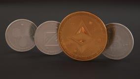Стог cryptocurrencies на темной предпосылке, монетках платины физических, пульсации, Zcoin, Bitcoin и золотом Etherium Cryptocu м иллюстрация штока