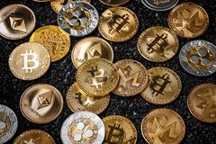 Стог cryptocurrencies стоковое изображение
