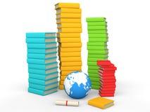 стог 3d книг с глобусом земли Стоковое Изображение