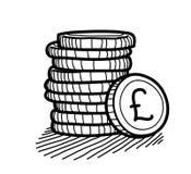 Стог Doodle монеток (фунт стерлинга) бесплатная иллюстрация