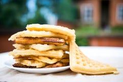 Стог waffles в таблице сада Стоковое Изображение RF