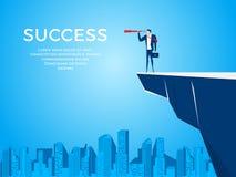 Стойка бизнесмена на горе края скалы используя телескоп ища успех, возможности, будущее дело отклоняет рука принципиальной схемы  иллюстрация штока