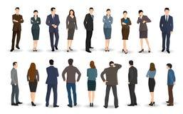 Стойка бизнесменов и женщин смотря на или задняя Стоковая Фотография RF