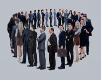 Стойка бизнес-группы в круге изолированном над белым backgroun Стоковое Изображение