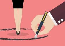 Стойка бизнес-леди внутри круга покрашенного сильной рукой Стоковое Фото