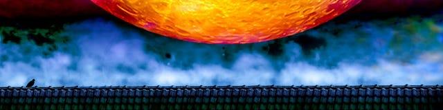стойка голубя на крыше и конец вверх по крови лунатируют ночное небо Стоковые Изображения RF