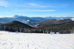 Стойка деревьев Snowy на лужайке Высокие горы покрыты с снегом Старая стойка хат в долинах холодная зима дня Стоковые Изображения