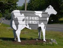 стойка знака фермы коровы фасолей Стоковое Изображение