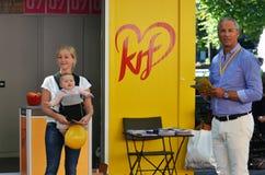 Стойка кампании Демократической партии норвежца христианская (KrF) Стоковое Изображение