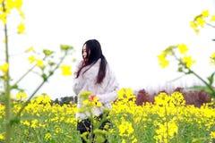 Стойка молодой женщины в середине желтых цветков Коул Стоковое Фото