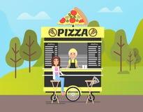 Стойка пиццы в парке, продовольственном магазине на улице в лесе иллюстрация вектора