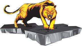 Стойка тигра на утесе стоковые изображения