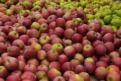 Стойка Яблока и груши на местном рынке стоковая фотография rf