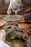 стойка 2 hikers моста естественная Стоковое Изображение RF