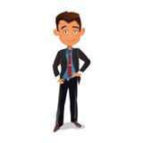 Стойки бизнесмена усмехаясь в черном костюме Стоковая Фотография