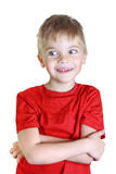 Стойки мальчика и улыбки, взгляды в сторону Стоковые Фото