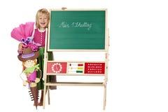 стойки школы девушки дня мелка доски первые Стоковые Фото