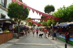 Стойлы на средневековом рынке справедливом в Tapia De Casariego Природа, перемещение, воссоздание стоковое фото rf