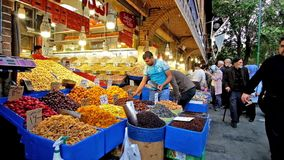 Стойл плодоовощ в грандиозном базаре в Тегеране акции видеоматериалы