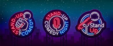 Стойте вверх комедия собрание неонового signage Собрание неоновых логотипов, символ, яркое светлое знамя, неон Бесплатная Иллюстрация