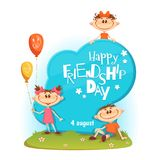 Стойте с названием, детьми, воздушными шарами, цветками и травой дня приятельства также вектор иллюстрации притяжки corel Стоковые Изображения