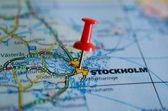 Стокгольм на карте Стоковое Изображение