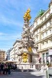 Столбец троицы столбца чумы на улице Graben, Вене, Австрии стоковое фото