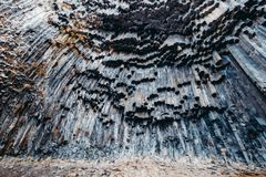 Столбцы базальта в ущелье Garni Армении Стоковая Фотография