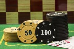 Столбцы обломоков покера и тузов сочетания из 4 Стоковое Изображение RF