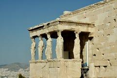 Столбцы Carietids, акрополь, Афина стоковое фото