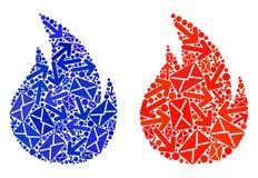 Столб направляет значки огня мозаики иллюстрация вектора