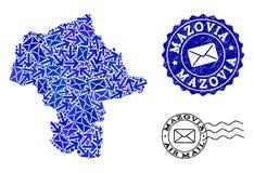 Столб направляет коллаж карты мозаики провинции Mazovia и текстурированных печатей иллюстрация штока