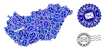 Столб направляет состав карты мозаики Венгрии и поцарапанных уплотнений иллюстрация штока