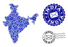 Столб направляет состав карты мозаики Индии и текстурированных уплотнений иллюстрация штока