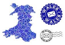 Столб направляет состав карты мозаики печатей Уэльс и дистресса иллюстрация штока
