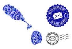 Столб направляет состав карты мозаики уплотнений Сент-Китс и Невися и Grunge иллюстрация штока